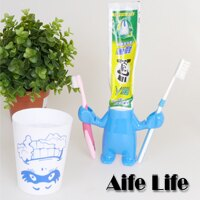 【aife life】笑臉人造型牙刷杯組/牙刷架/牙膏架,通風架高設計,超可愛的衛浴用品,笑臉設計讓你每天都有好心情