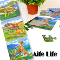 【aife life】A0196幼兒玩具造型拼圖四入一組/動物恐龍拼圖/水果拼圖/學習拼圖,專為孩童設計,適合抓握,色彩鮮豔刺激視覺發展