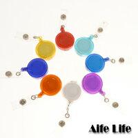 【aife life】素色伸縮證件夾/票價夾/鑰匙夾/扣環伸縮捲繩悠遊卡車票夾,歡迎大量印製