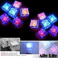 【aife life】七彩LED遇水即亮發光冰塊燈/夢幻水晶造型可放水中多段式免開關~婚禮佈置