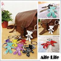 【aife life】小熊水鑽鑰匙圈/日韓系精品手機吊飾/可印字