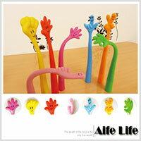 【aife life】軟Q可彎曲笑臉手指手勢黑色原子筆/中性筆水性筆油性筆圓珠筆創意可愛書寫文具