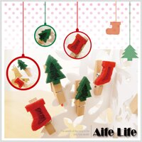 【aife life】聖誕不織布小木夾/相片夾memo夾書籤多功能夾會場佈置文具萬用夾