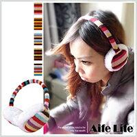 【aife life】條紋毛線保暖耳罩/後戴式耳罩韓國秋冬彩虹條紋毛線手工針織耳套毛絨保暖耳罩