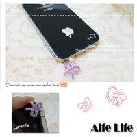 【aife life】iPhone/htc/智慧型手機/珍珠蝴蝶結耳機孔防塵塞/耳機塞/防潮塞,歡迎大量批發!