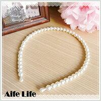 【aife life】韓版氣質小公主珍珠髮箍~珍珠白~雜誌款大推薦