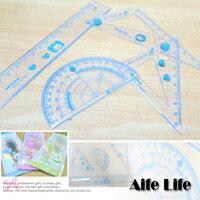 【aife life】可愛卡通動物透明套尺組/量角器圓規三角板尺規建築室內設計製圖美工文具組