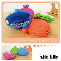 【aife life】 糖果色圓形矽膠雙珠扣萬用包/軟式橡膠零錢包化妝包收納包眼鏡盒元寶包