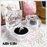 【aife life】四角鑽石透明珠寶盒/壓克力項鍊耳環戒指盒展示盒首飾盒禮物盒
