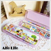 【aife life】迪士尼塑膠筆盒文具組/台灣製造正版授權迪士尼文具組卡通鉛筆盒擦子尺貼紙削鉛筆機