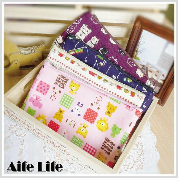 【aife life】MIT台灣製造棉質公主風印花拉鍊式化妝包/萬用包整理袋印章存摺收納包旅遊包多用包手拿包筆袋