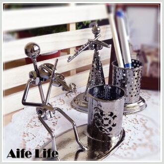 【aife life】音樂人生鐵藝筆筒/置物桶 鐵藝公仔筆筒 造型筆筒 金屬筆筒 飾品擺飾 電鍍筆筒 樂團筆筒