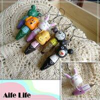 【aife life】木製動物吊飾筆/手機吊飾 鑰匙圈 隨身筆 原子筆手機吊飾 禮品贈送