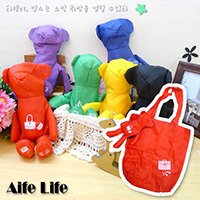 【aife life】幸運熊折疊購物袋/幸運熊吊飾輕便購物袋 折疊環保購物袋 牛津小熊購物袋