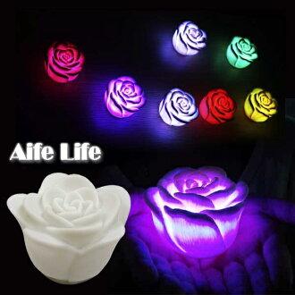 【aife life】LED極光炫七彩玫瑰燈(5.5cm),可當小夜燈、擺燈,情人浪漫氣氛再加分~另售蠟燭LED燈