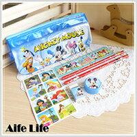 【aife life】迪士尼文具組筆袋/可愛卡通鉛筆盒擦子尺貼紙削鉛筆機