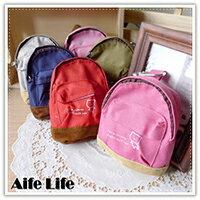 【aife life】日韓系素面小書包零錢包/帆布書包鑰匙包/掛勾收納袋/萬用包/迷你背包零錢包/包包吊飾