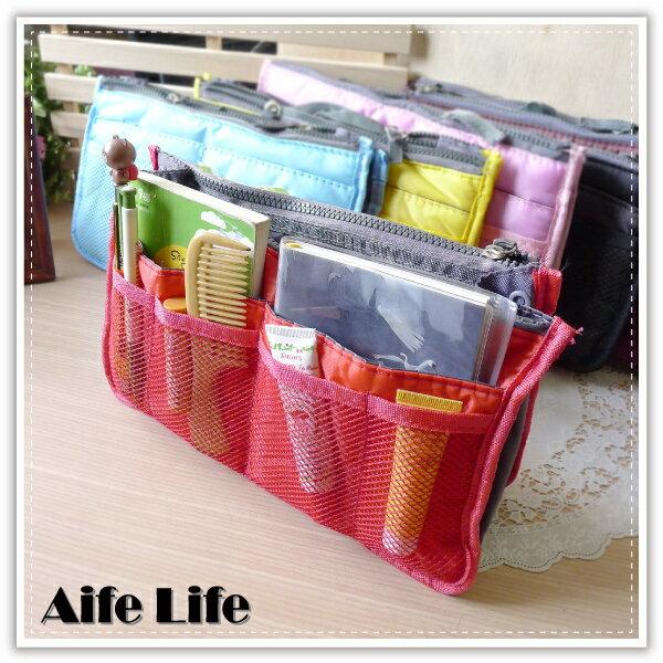 【aife life】包中包分隔袋/雙層超大加厚手提式收納包/袋中袋/化妝包/收納袋/多功能收納包