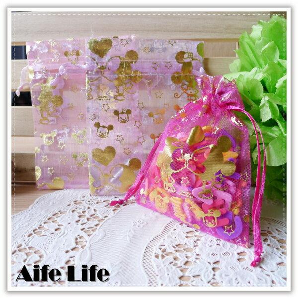 【aife life】迪士尼燙金紗袋-11x8.5cm/正版授權迪士尼/束口袋/DIY婚禮小物包裝首飾袋糖果袋禮品袋