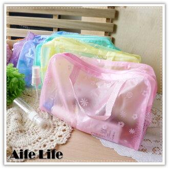【aife life】透明果凍小花旅行袋/手提化妝包/多功能旅行收納袋/防水收納包/盥洗收納袋/萬用包