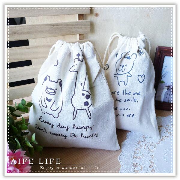【aife life】鄉村動物棉麻束口袋-大/日系田園風萬用袋/抽繩收納袋/萬用包/手提包/絨布袋/相機包