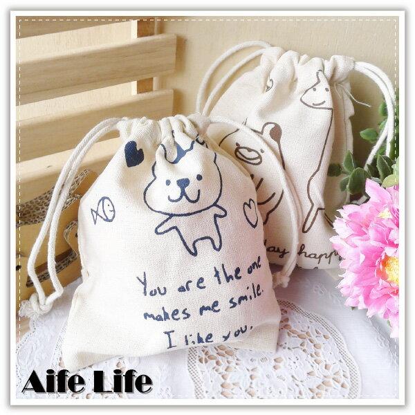 【aife life】鄉村動物棉麻束口袋-小/日系田園風萬用袋/抽繩收納袋/萬用包/手提包/絨布袋