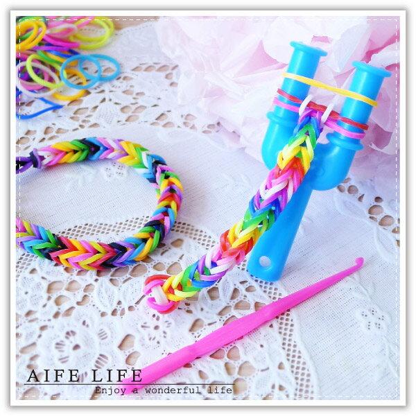 【aife life】DIY橡皮筋編織手鍊/歐美流行彩虹橡皮筋編織器/彩色橡皮筋/彩色手環編織材料包/