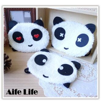 【aife life】日韓系絨毛貓熊口罩/熊貓口罩/絨毛口罩/動物口罩/造型口罩/保暖口罩