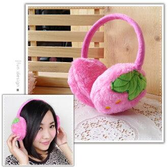 【aife life】草莓保暖耳罩/絨毛後戴式耳罩/日韓系秋冬耳套/耳掛式/髮箍/冬季保暖小物