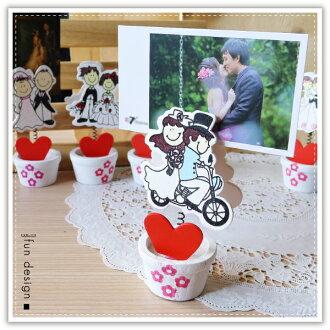 【aife life】飛機木婚禮新人名片夾/新娘新郎小木夾/謝卡夾/桌上型名片夾/MEMO夾/婚禮佈置