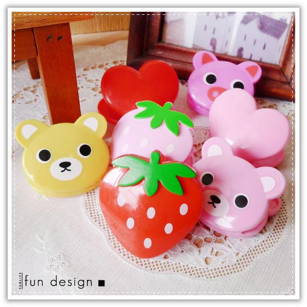 【aife life】愛心草莓動物造型夾子(1包6入)/曬衣夾文件夾名片夾memo夾