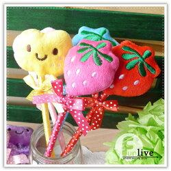 【aife life】蘋果草莓絨毛筆/蘋果造型筆/草莓造型筆/書寫文具用品/開幕活動/婚禮小物/禮贈品/簽名筆