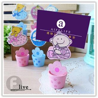 【aife life】可愛嬰兒名片夾/寶貝BABY小木夾/謝卡夾/桌上型名片夾/MEMO夾/熊熊/婚禮佈置