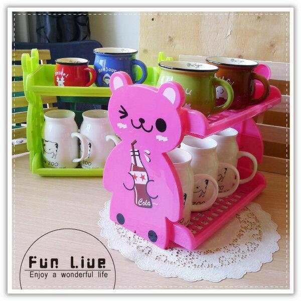 【aife life】動物雙層置物架/DIY造型收納盒/收納架/廚房置物架/杯架/化妝品收納架/萬用摺疊收納架
