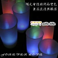 【aife life】浪漫滿屋居家擺飾LED擬真七彩蠟燭燈/杯燈生日蠟燭小夜燈造型燈聖誕婚禮佈置(有燈罩有聲控)