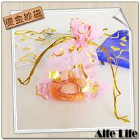 【aife life】10cmX12cm愛心燙金紗袋/5色束口袋DIY婚禮小物包裝首飾袋喜糖袋禮品袋/可印字