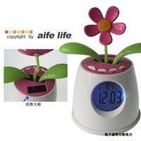 【aife life】日系小花植物盆栽LED冷光電子鬧鐘/ 時鐘/溫度/中文發音/上班族通勤族心情小品
