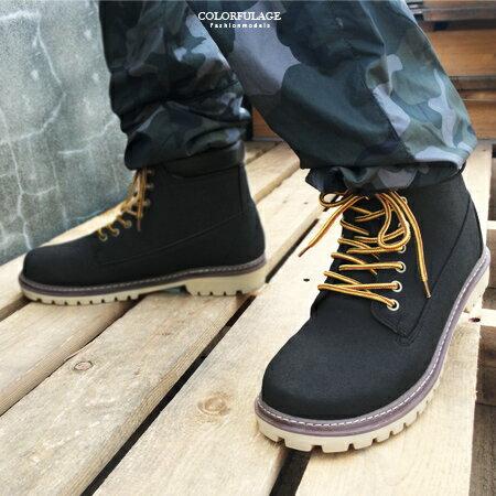 高筒靴 帥氣型男馬汀靴 綁帶登山鞋 耐用百搭款 真皮防臭鞋墊 柒彩年代~NR18~MIT