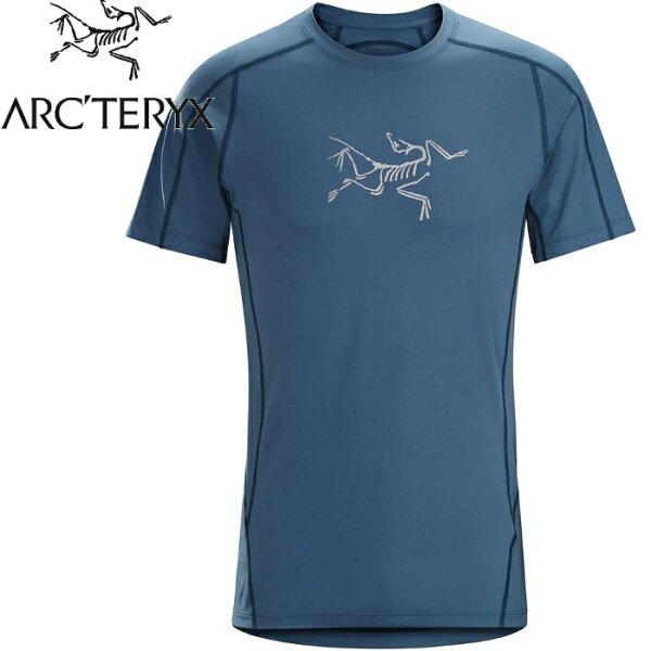 Arcteryx始祖鳥透氣快乾短袖圓領排汗衣排汗T恤PhasicEvolutionCrew男款18920宇宙藍