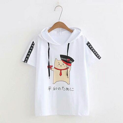 小貓印花休閒連帽學院風T恤(3色F碼)【OREAD】 2