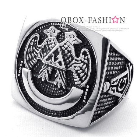 《 QBOX 》FASHION 飾品【W10022805】精緻個性雙鷹共濟會鑄造316L鈦鋼戒指/戒環