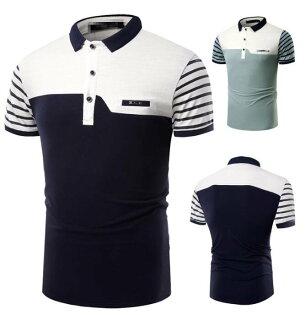 FINDSENSEZ1日系流行男時尚大碼立領拼色條紋短袖T恤短袖POLO衫特色短T