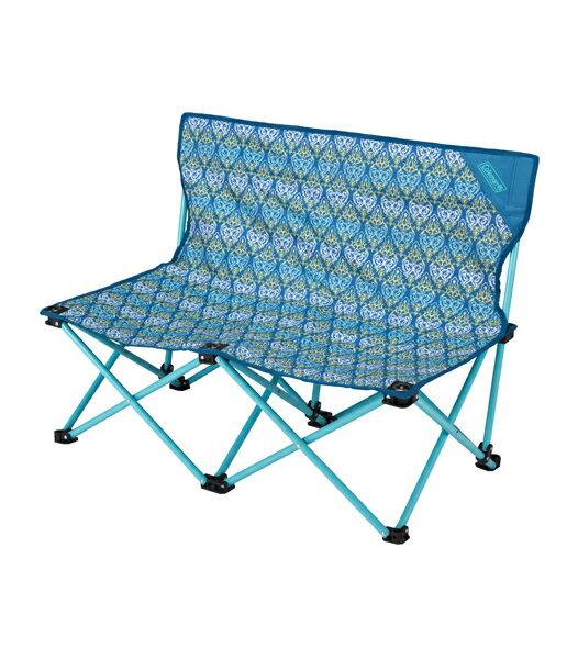 【露營趣】中和 附手電筒 Coleman CM-22002 藍葉圖騰情人椅 折疊椅 摺疊椅 休閒椅 對對椅 童軍椅