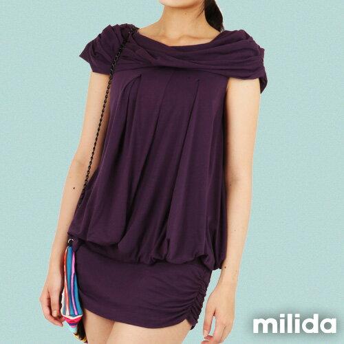 【Milida,全店七折免運】-夏季商品-氣質款-一字領洋裝 3