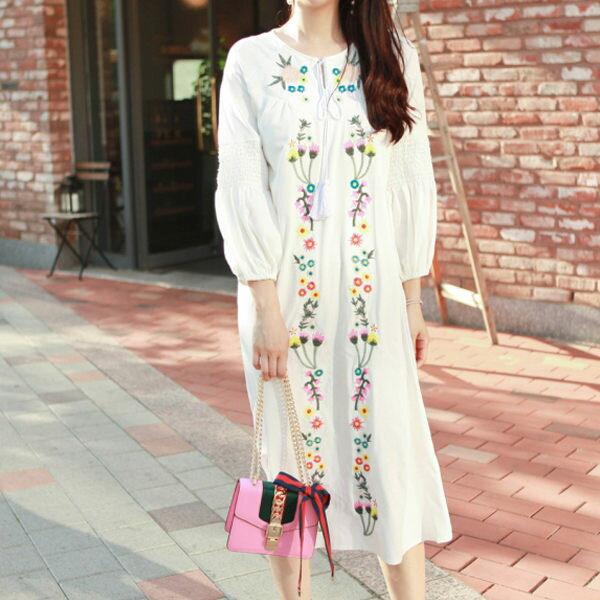 PS Mall  浪漫花朵刺繡連身裙 洋裝【T1492】 1