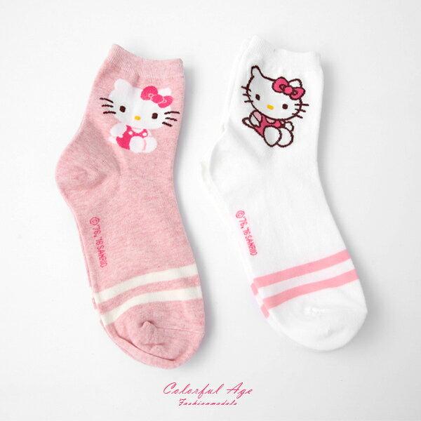 襪子 韓國HELLO KITTY條紋長襪 柒彩年代【NRS20】