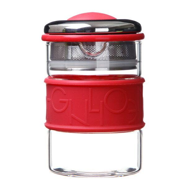 【佑銘嚴選E-PL004-30-B】五彩環濾泡壺300ml茶杯 / 茶包 / 紅色 / 黑色 0