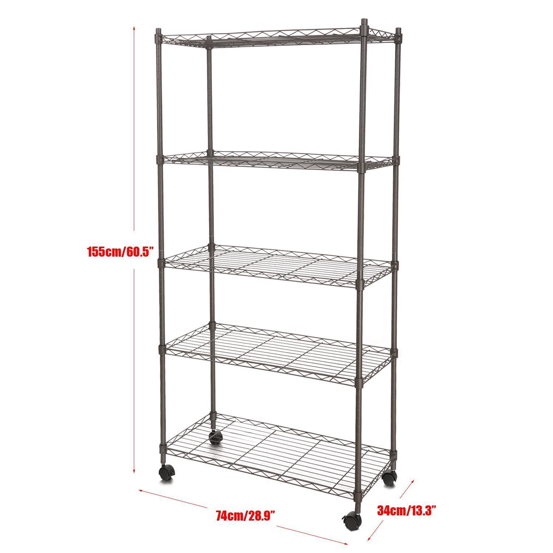 5-Shelf Wire Shelving Rack Shelves with Wheels 14 x 29 x 61inch 0
