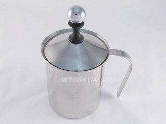 《愛鴨咖啡》雙層 不銹鋼 手動 奶泡器 發泡器 800cc