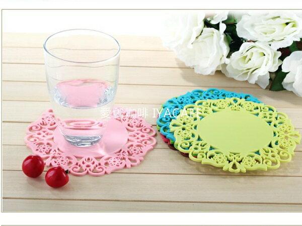 《愛鴨咖啡》圓形矽膠杯墊 花漾鏤空 防滑墊 咖啡杯墊